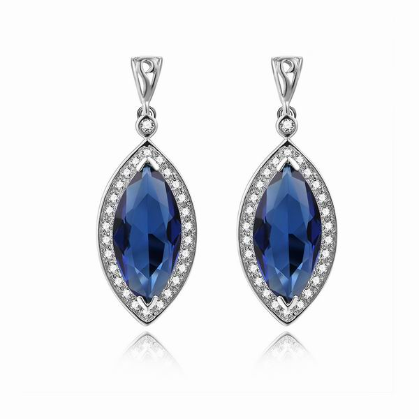 Blue CZ Drop Earrings