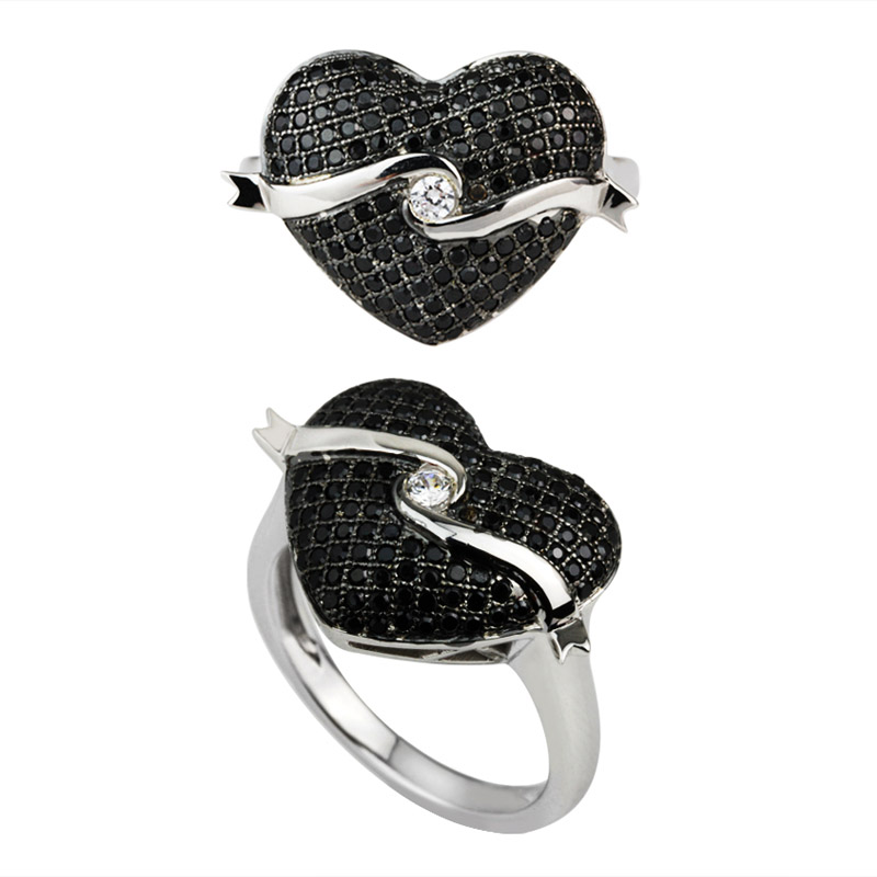 Black Heart Shape Ring