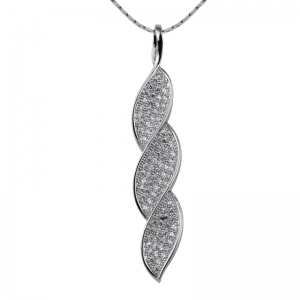 Twist Leaf Zirconia Pendant