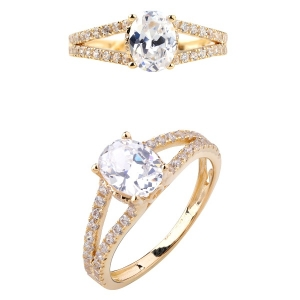 Lady 18k Gold CZ Ring